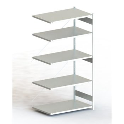 Steckregal META CLIP® 230, AR, lichtgrau, H: 2500 x L: 1300 x T: 800 mm, einzeilig