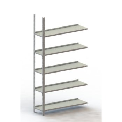 META Büro-Schraubregal COMPACT, AR verzinkt, H: 1850 x L: 750 x T: 300 mit 5 Böden