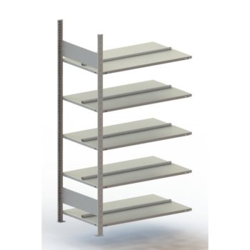 META Büro-Steckregal Anbauregal COMPACT, T: 600 mm, ohne Abdeckboden, doppelseitig, RAL 7035