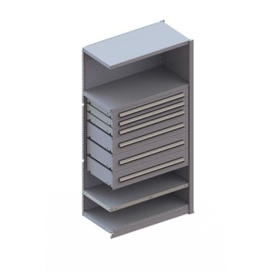 META CLIP Schrankmodul Anbauregal, RAL 7035 lichtgrau, 5 Schubladen