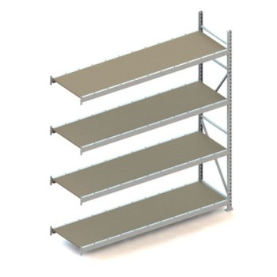META Weitspannregal Anbauregal MINI-RACK, H: 2500 x L: 2200 x T: 650 mm, sendzimirverzinkt, Spanplatten