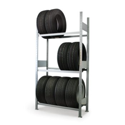 META CLIP S3 Reifenregal Anbauregal, Fachlast: 150 kg, Höhe: 2500 mm, Länge: 1000 mm, Tiefe: 400 mm