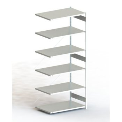 Steckregal META CLIP® 230, AR, lichtgrau, H: 3000 x L: 1300 x T: 800 mm, einzeilig